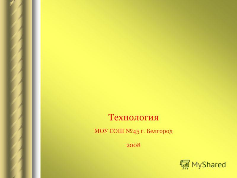 Технология МОУ СОШ 45 г. Белгород 2008