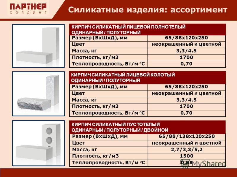 : Силикатные изделия: ассортимент Размер (ВхШхД), мм65/88/138х120х250 Цветнеокрашенный и цветной Масса, кг2,7/3,3/5,2 Плотность, кг/м31500 Теплопроводность, Вт/м о С0,58 Размер (ВхШхД), мм65/88х120х250 Цветнеокрашенный и цветной Масса, кг3,3/4,5 Плот