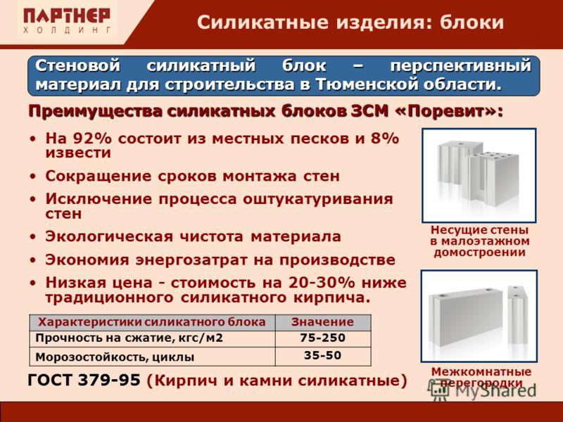: На 92% состоит из местных песков и 8% извести Сокращение сроков монтажа стен Исключение процесса оштукатуривания стен Экологическая чистота материала Экономия энергозатрат на производстве Низкая цена - стоимость на 20-30% ниже традиционного силикат