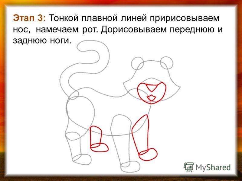Этап 3: Тонкой плавной линей пририсовываем нос, намечаем рот. Дорисовываем переднюю и заднюю ноги.
