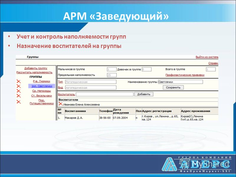 АРМ «Заведующий» Учет и контроль наполняемости групп Назначение воспитателей на группы