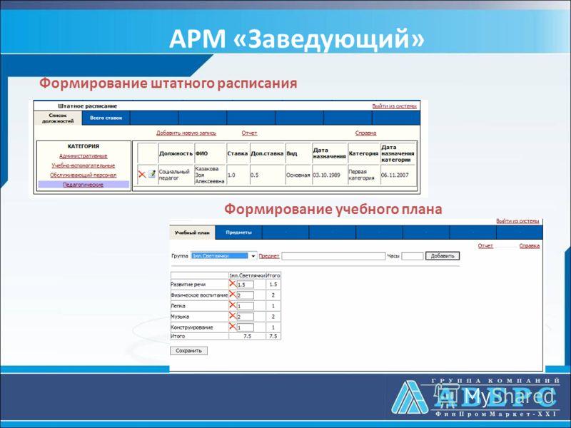 АРМ «Заведующий» Формирование штатного расписания Формирование учебного плана