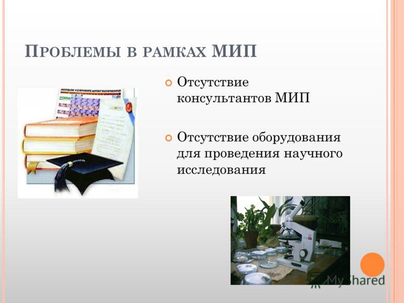 П РОБЛЕМЫ В РАМКАХ МИП Отсутствие консультантов МИП Отсутствие оборудования для проведения научного исследования