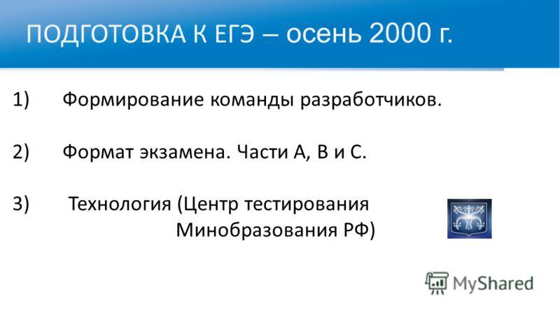 ПОДГОТОВКА К ЕГЭ – осень 2000 г. 1) Формирование команды разработчиков. 2) Формат экзамена. Части А, В и С. 3)Технология (Центр тестирования Минобразования РФ)