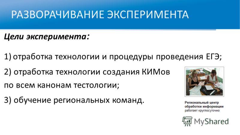 РАЗВОРАЧИВАНИЕ ЭКСПЕРИМЕНТА Цели эксперимента : 1)отработка технологии и процедуры проведения ЕГЭ; 2) отработка технологии создания КИМов по всем канонам тестологии; 3) обучение региональных команд.