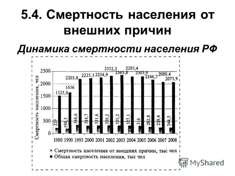 5.4. Смертность населения от внешних причин Динамика смертности населения РФ