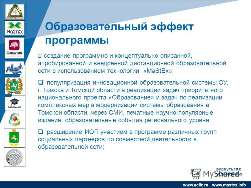 www.company.com чяс Образовательный эффект программы www.aclic.ru www.mastex.info вернуться к содержанию создание программно и концептуально описанной, апробированной и внедренной дистанционной образовательной сети с использованием технологий «MaStEx