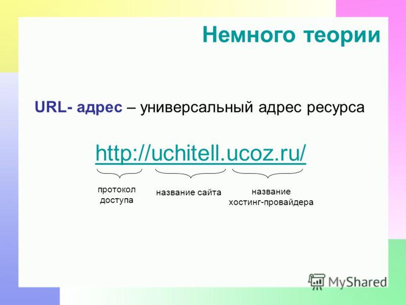 URL- адрес – универсальный адрес ресурса http://uchitell.ucoz.ru/ Немного теории название сайта название хостинг-провайдера протокол доступа