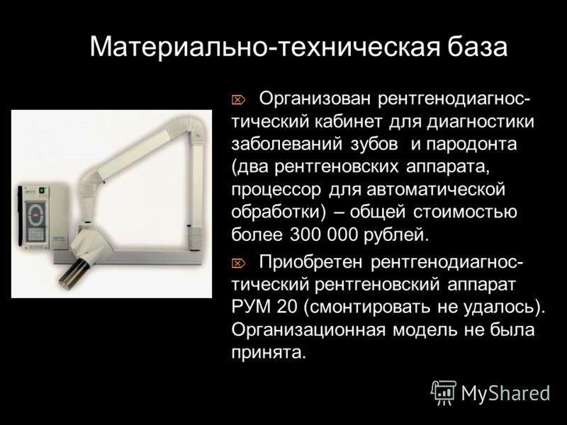 Организован рентгенодиагнос- тический кабинет для диагностики заболеваний зубов и пародонта (два рентгеновских аппарата, процессор для автоматической обработки) – общей стоимостью более 300 000 рублей. Приобретен рентгенодиагнос- тический рентгеновск