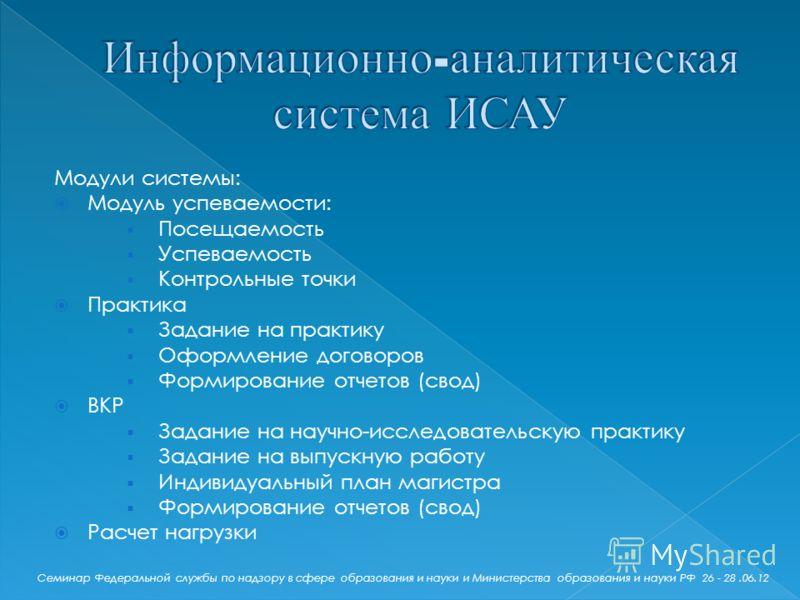 Модули системы: Модуль успеваемости: Посещаемость Успеваемость Контрольные точки Практика Задание на практику Оформление договоров Формирование отчетов (свод) ВКР Задание на научно-исследовательскую практику Задание на выпускную работу Индивидуальный