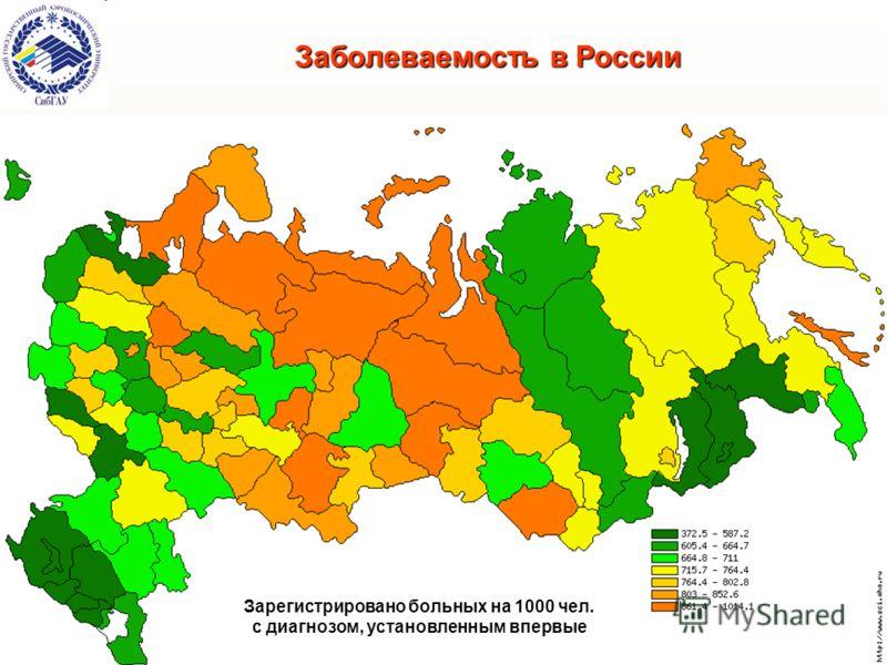 Заболеваемость в России Зарегистрировано больных на 1000 чел. с диагнозом, установленным впервые