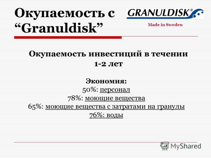 Экономия: 50%: персонал 78%: моющие вещества 65%: моющие вещества с затратами на гранулы 76%: воды Окупаемость инвестиций в течении 1-2 лет Окупаемость с Granuldisk Made in Sweden