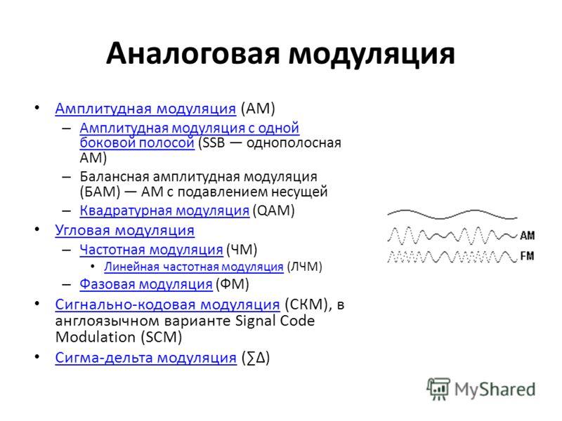 Аналоговая модуляция Амплитудная модуляция (АМ) Амплитудная модуляция – Амплитудная модуляция с одной боковой полосой (SSB однополосная АМ) Амплитудная модуляция с одной боковой полосой – Балансная амплитудная модуляция (БАМ) АМ с подавлением несущей