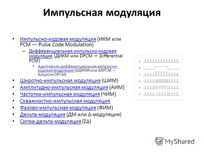 Импульсная модуляция Импульсно-кодовая модуляция (ИКМ или PCM Pulse Code Modulation) Импульсно-кодовая модуляция – Дифференциальная импульсно-кодовая модуляция (ДИКМ или DPCM Differential PCM) Дифференциальная импульсно-кодовая модуляция Адаптивная д