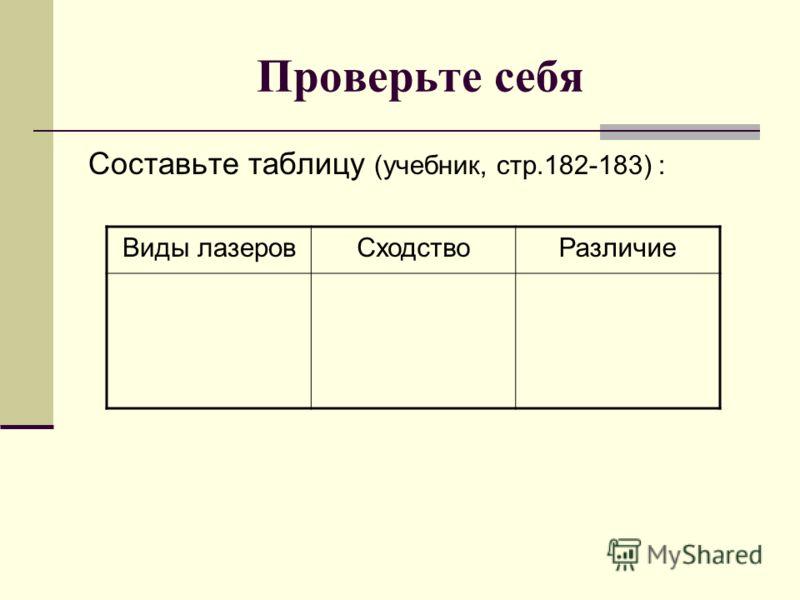 Проверьте себя Составьте таблицу (учебник, стр.182-183) : Виды лазеровСходствоРазличие