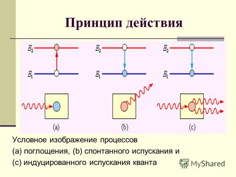 Принцип действия Условное изображение процессов (a) поглощения, (b) спонтанного испускания и (c) индуцированного испускания кванта