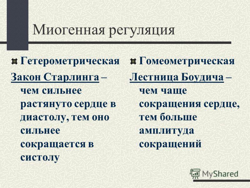 МЕХАНИЗМЫ РЕГУЛЯЦИИ ДЕЯТЕЛЬНОСТИ СЕРДЦА