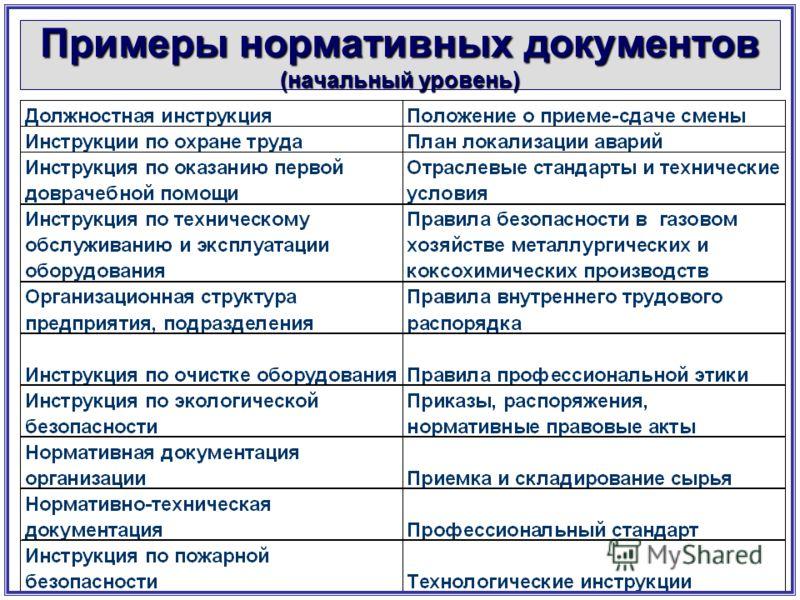 Примеры нормативных документов (начальный уровень)