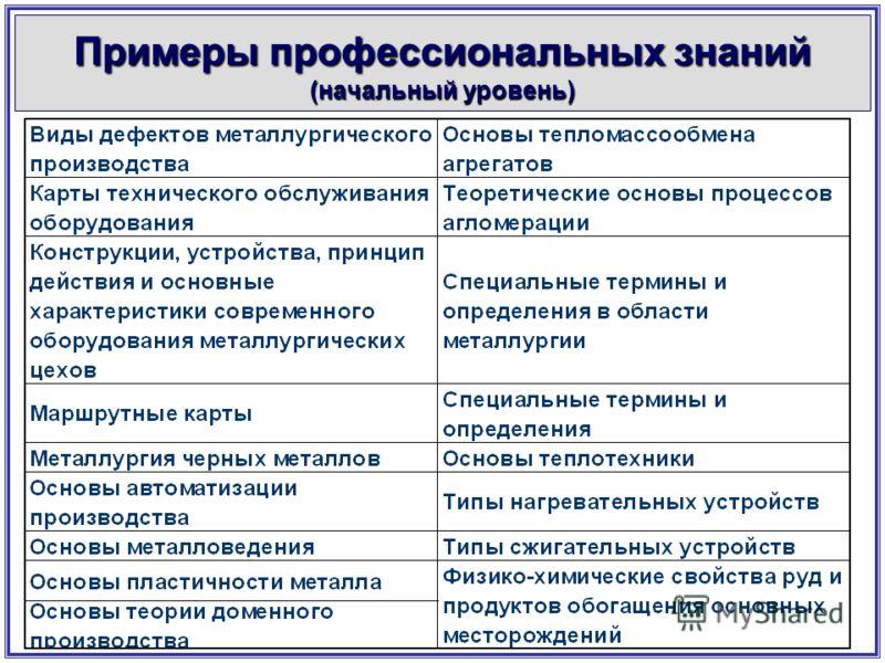 Примеры профессиональных знаний (начальный уровень)
