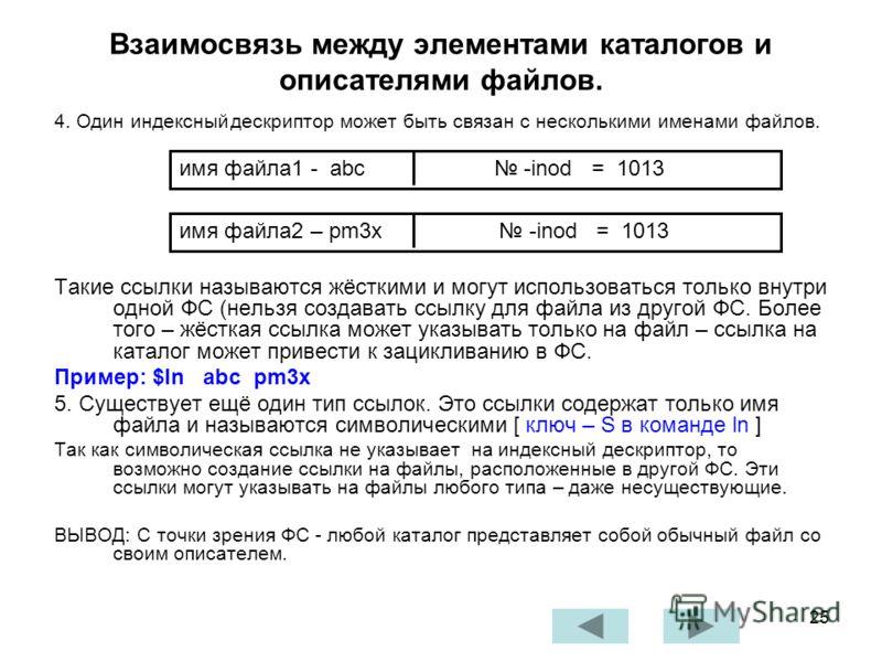25 4. Один индексныйдескриптор может быть связан с несколькими именами файлов. Такие ссылки называются жёсткими и могут использоваться только внутри одной ФС (нельзя создавать ссылку для файла из другой ФС. Более того – жёсткая ссылка может указывать