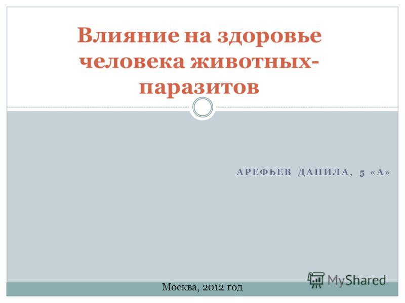 АРЕФЬЕВ ДАНИЛА, 5 «А» Влияние на здоровье человека животных- паразитов Москва, 2012 год