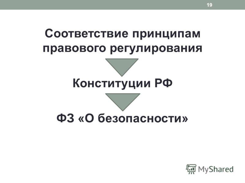 Соответствие принципам правового регулирования Конституции РФ ФЗ «О безопасности» 19