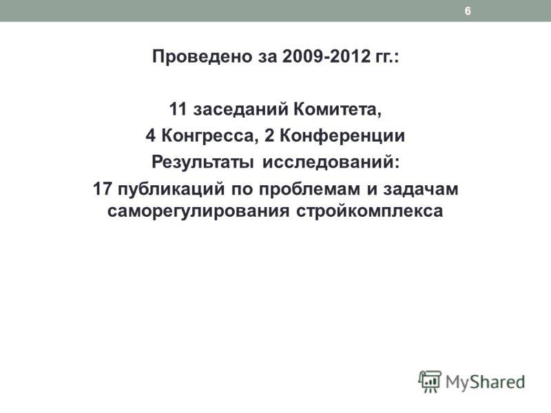 Проведено за 2009-2012 гг.: 11 заседаний Комитета, 4 Конгресса, 2 Конференции Результаты исследований: 17 публикаций по проблемам и задачам саморегулирования стройкомплекса 6