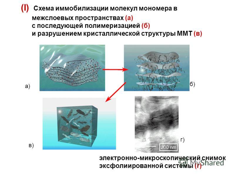(I) Схема иммобилизации молекул мономера в межслоевых пространствах (а) с последующей полимеризацией (б) и разрушением кристаллической структуры ММТ (в) а) б) в) г) электронно-микроскопический снимок эксфолиированной системы (г)