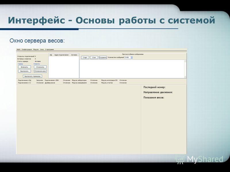Окно сервера весов: Интерфейс - Основы работы с системой