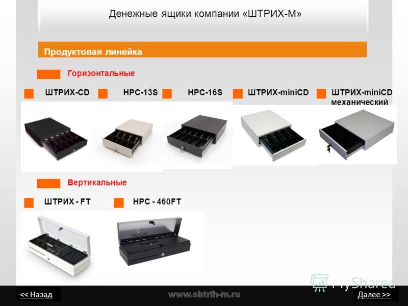 > Денежные ящики компании «ШТРИХ-М» Продуктовая линейка Горизонтальные ШТРИХ-СD ШТРИХ - FT HPC-13SHPC-16S ШТРИХ-miniСD Вертикальные ШТРИХ-miniСD механический HPC - 460FT