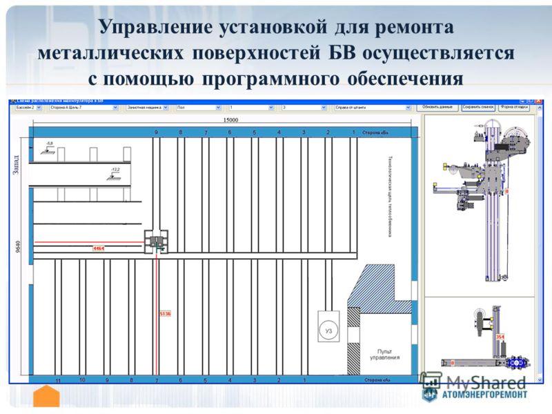 Управление установкой для ремонта металлических поверхностей БВ осуществляется с помощью программного обеспечения