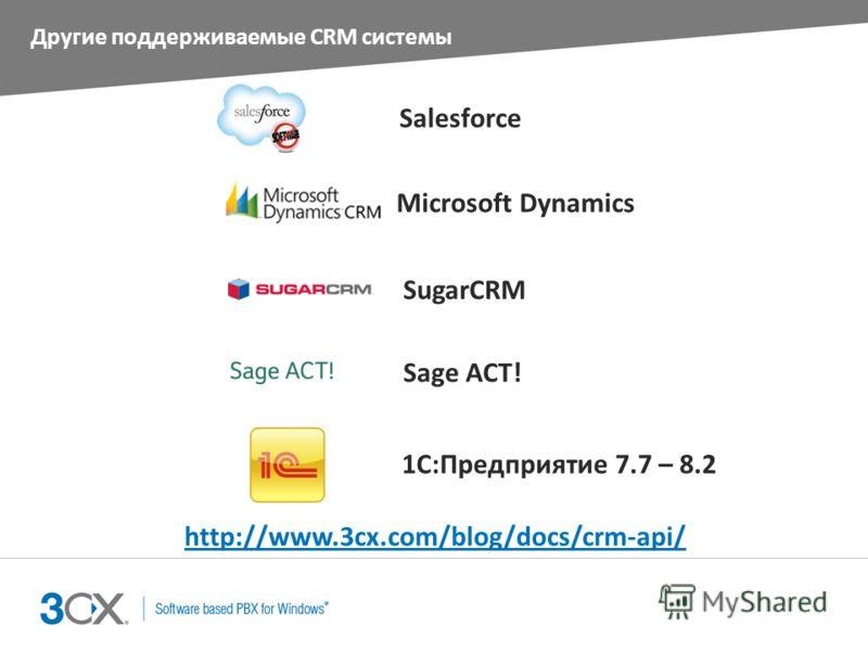 Другие поддерживаемые CRM системы Salesforce Microsoft Dynamics SugarCRM Sage ACT! http://www.3cx.com/blog/docs/crm-api/ 1С:Предприятие 7.7 – 8.2