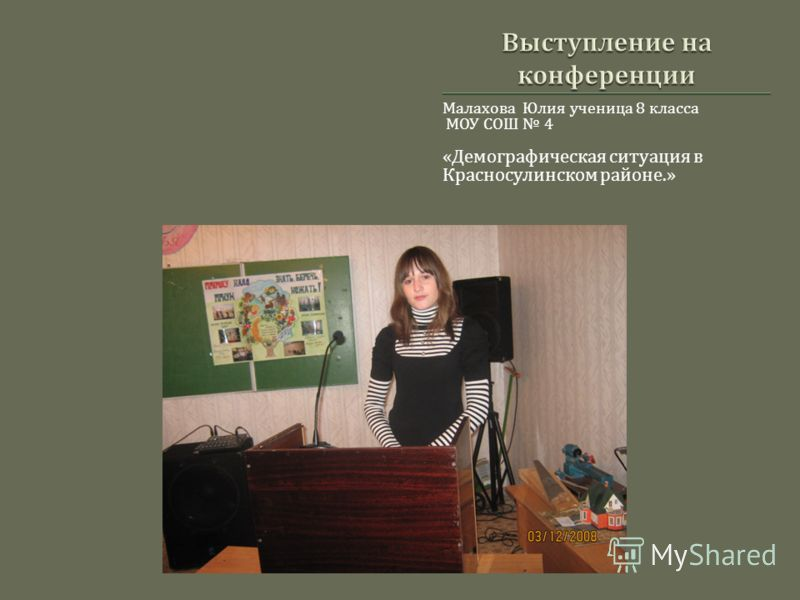 Малахова Юлия ученица 8 класса МОУ СОШ 4 « Демографическая ситуация в Красносулинском районе.»