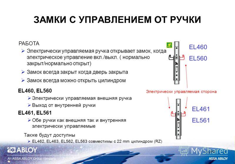 2.4.20041 EL460 EL560 EL461 EL561 Электрически управляемая сторона ЗАМКИ С УПРАВЛЕНИЕМ ОТ РУЧКИ РАБОТА Электрически управляемая ручка открывает замок, когда электрическое управление вкл./выкл. ( нормально закрыт/нормально открыт) Замок всегда закрыт