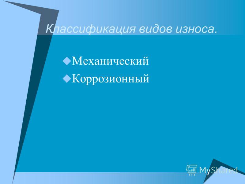 Классификация видов износа. Механический Коррозионный