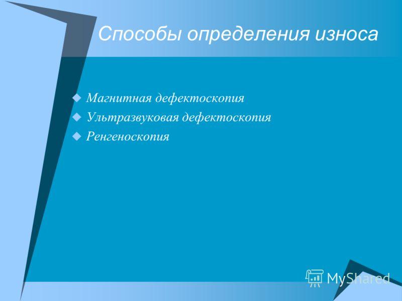 Способы определения износа Магнитная дефектоскопия Ультразвуковая дефектоскопия Ренгеноскопия