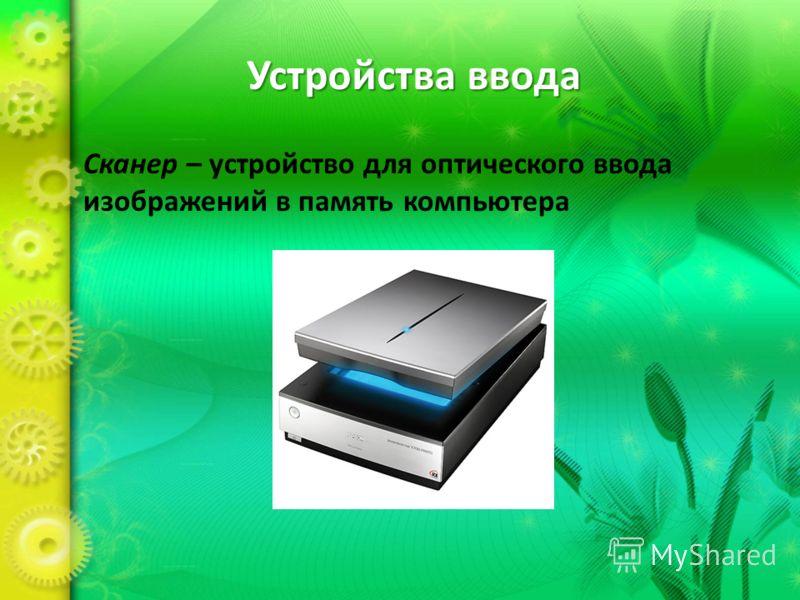 Устройства ввода Сканер – устройство для оптического ввода изображений в память компьютера