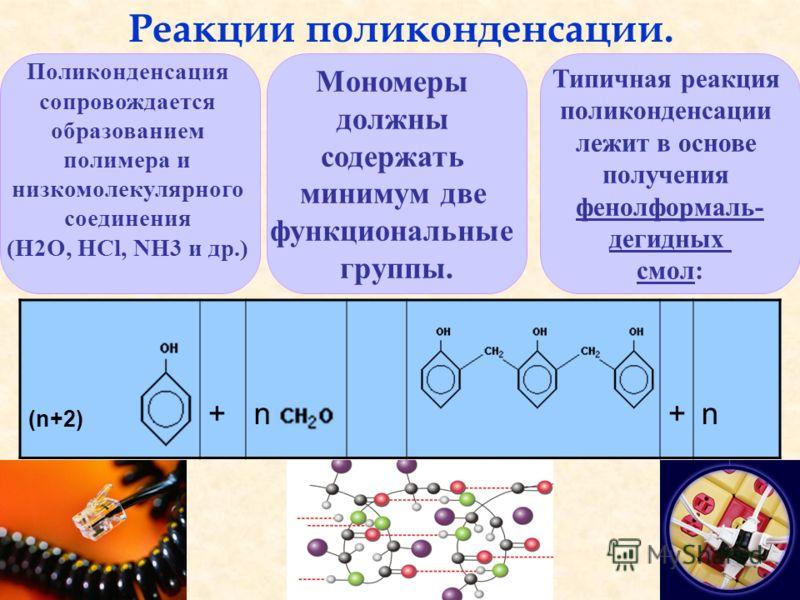 (n+2) +n+n Реакции поликонденсации. Поликонденсация сопровождается образованием полимера и низкомолекулярного соединения (H2O, HCl, NH3 и др.) Мономеры должны содержать минимум две функциональные группы. Типичная реакция поликонденсации лежит в основ