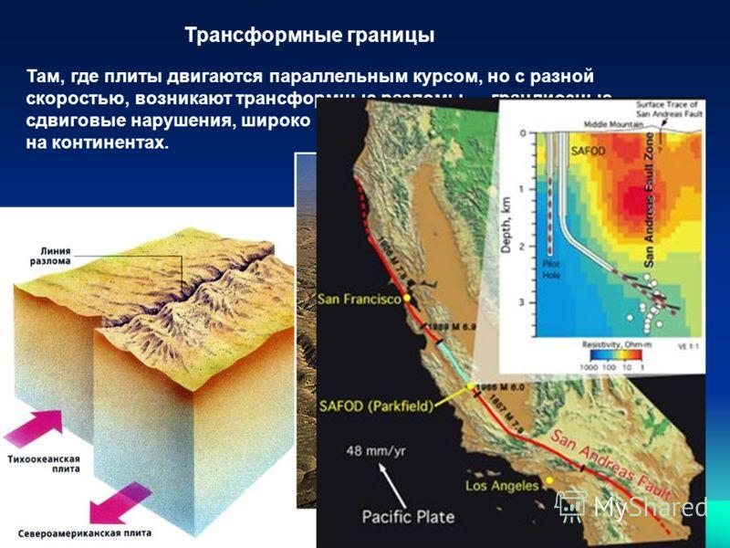 Трансформные границы Там, где плиты двигаются параллельным курсом, но с разной скоростью, возникают трансформные разломы грандиозные сдвиговые нарушения, широко распространённые в океанах и редкие на континентах.