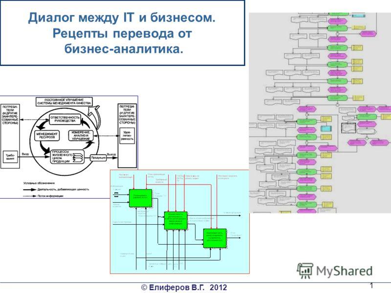© Елиферов В.Г. 2012 1 Диалог между IT и бизнесом. Рецепты перевода от бизнес-аналитика.