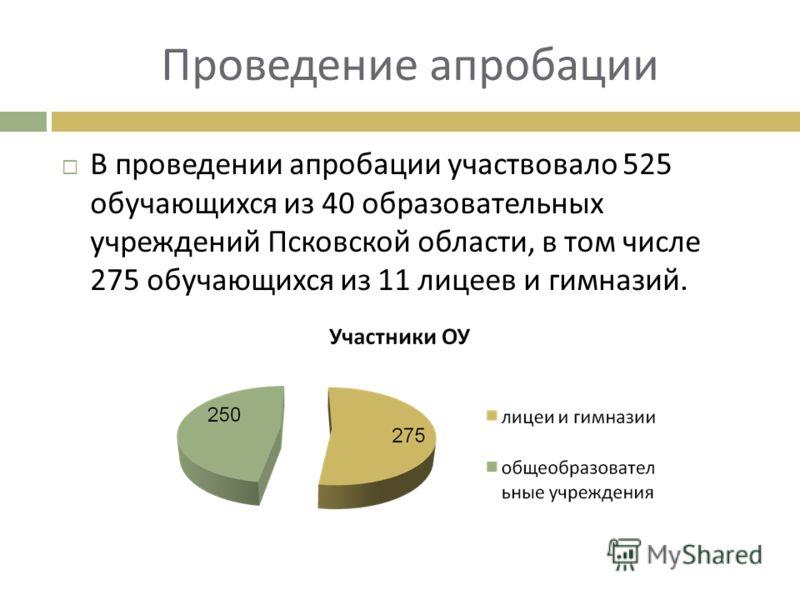 Проведение апробации В проведении апробации участвовало 525 обучающихся из 40 образовательных учреждений Псковской области, в том числе 275 обучающихся из 11 лицеев и гимназий.