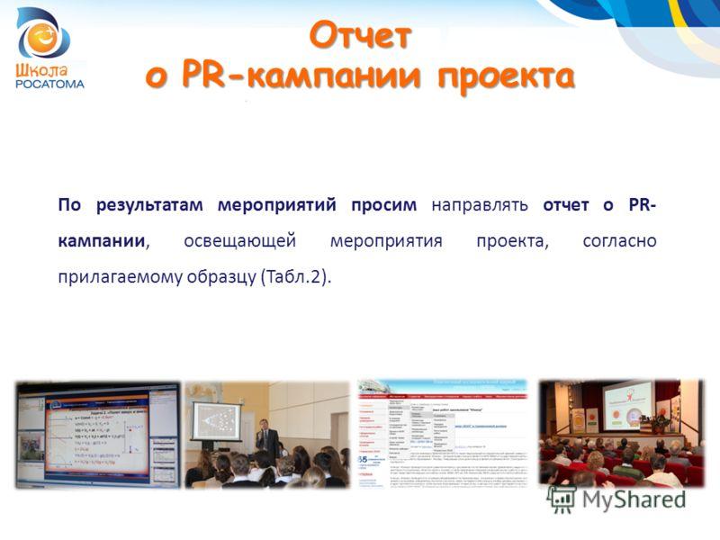 Отчет о PR-кампании проекта По результатам мероприятий просим направлять отчет о PR- кампании, освещающей мероприятия проекта, согласно прилагаемому образцу (Табл.2).