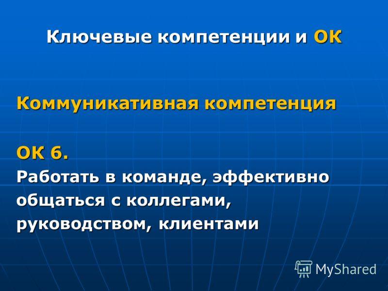 Ключевые компетенции и ОК Коммуникативная компетенция ОК 6. Работать в команде, эффективно общаться с коллегами, руководством, клиентами