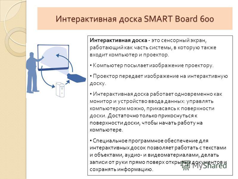Интерактивная доска SMART Board 600 Интерактивная доска - это сенсорный экран, работающий как часть системы, в которую также входит компьютер и проектор. Компьютер посылает изображение проектору. Проектор передает изображение на интерактивную доску.