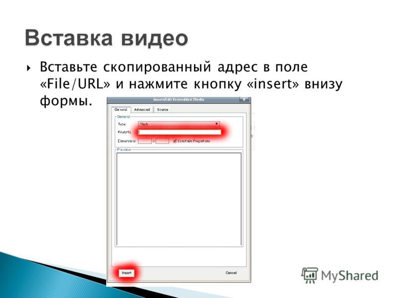 Вставьте скопированный адрес в поле «File/URL» и нажмите кнопку «insert» внизу формы.