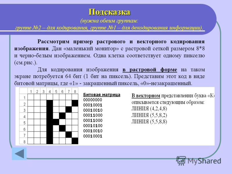 Подсказка (нужна обеим группам: группе 2 – для кодирования, группе 1 – для декодирования информации). Рассмотрим пример растрового и векторного кодирования изображения. Дан «маленький монитор» с растровой сеткой размером 8*8 и черно-белым изображение