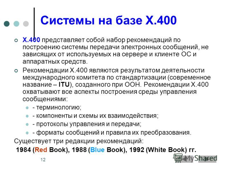 12 Системы на базе X.400 X.400 представляет собой набор рекомендаций по построению системы передачи электронных сообщений, не зависящих от используемых на сервере и клиенте ОС и аппаратных средств. Рекомендации X.400 являются результатом деятельности