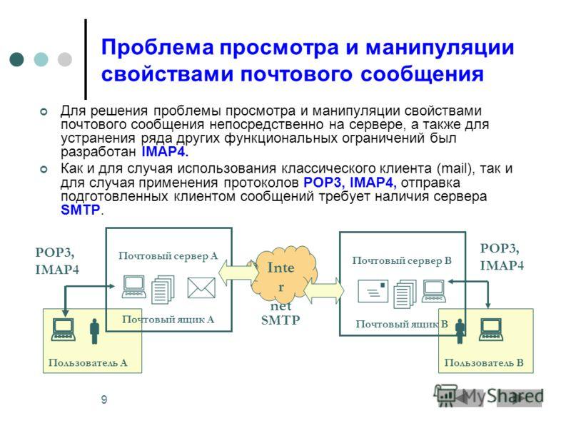 9 Пользователь А Проблема просмотра и манипуляции свойствами почтового сообщения Для решения проблемы просмотра и манипуляции свойствами почтового сообщения непосредственно на сервере, а также для устранения ряда других функциональных ограничений был