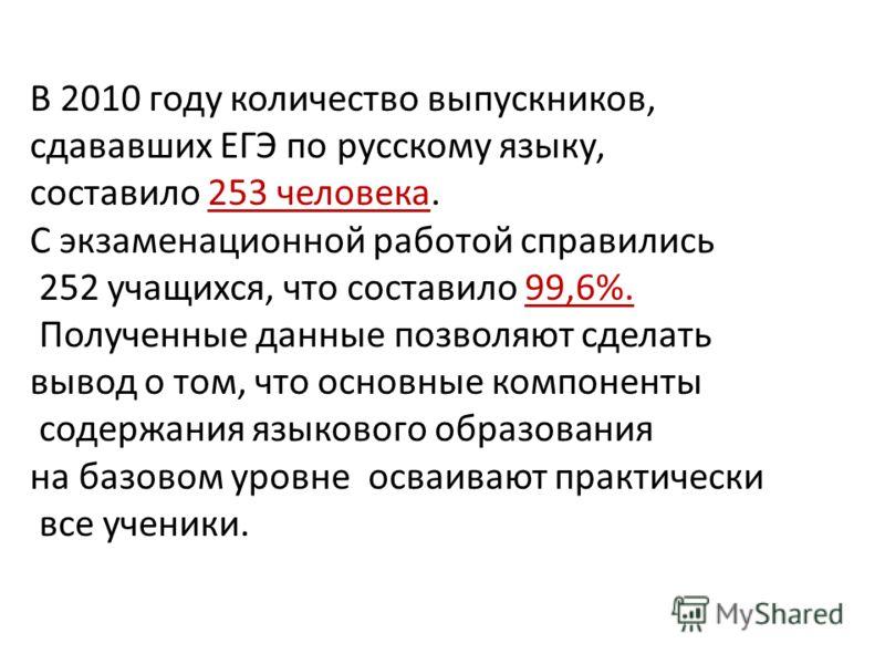 В 2010 году количество выпускников, сдававших ЕГЭ по русскому языку, составило 253 человека. С экзаменационной работой справились 252 учащихся, что составило 99,6%. Полученные данные позволяют сделать вывод о том, что основные компоненты содержания я