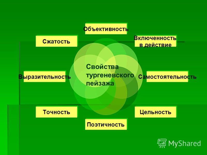Объективность Включенность в действие Самостоятельность ЦельностьПоэтичность Точность Выразительность Свойства тургеневского пейзажа